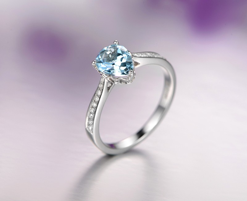 Elegant 1 Carat Pear Cut Topaz And Diamond Engagement Ring For Women In White Gold Jeenjewels