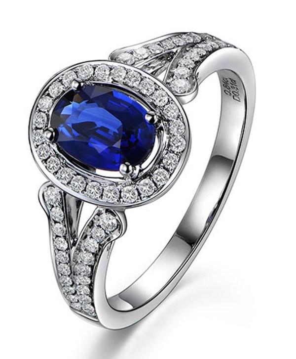 Vintage 2 Carat Blue Sapphire and Diamond Halo Engagement