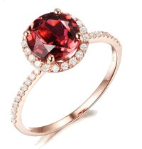 1.50 Carat Round Ruby and Diamond Halo Engagemnet Ring for ...
