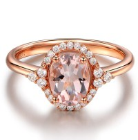Vintage 2 Carat Morganite and Diamond Engagement Ring in
