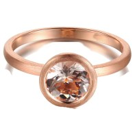 1 Carat Bezel set Morganite Solitaire Gemstone Engagement ...