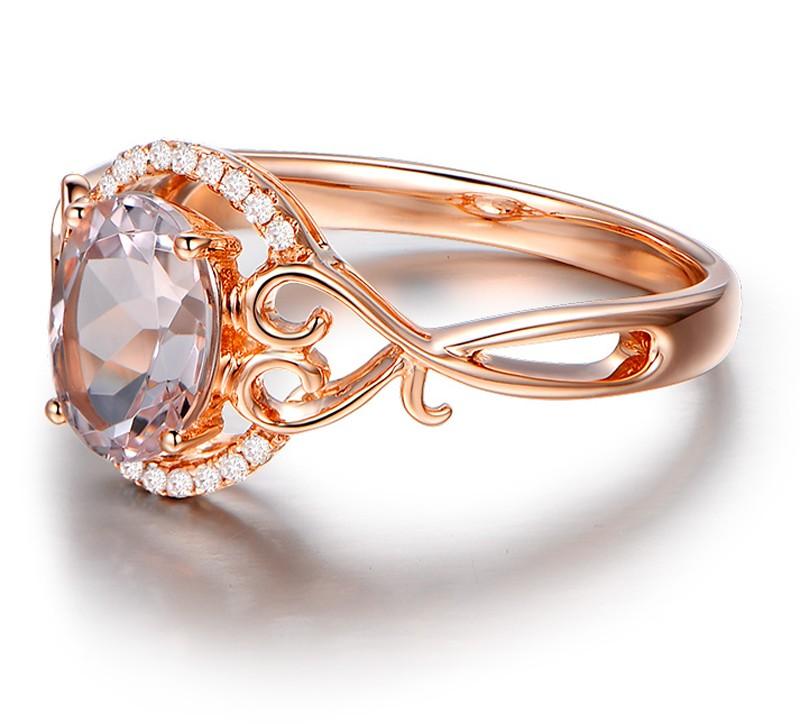 Vintage 1 Carat Morganite and Diamond Engagement Ring in
