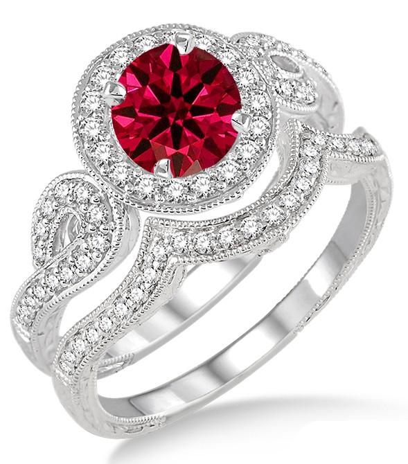 15 Carat Ruby Amp Diamond Antique Halo Bridal Set