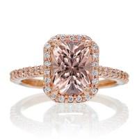 1.5 Carat Emerald Cut Morganite and Diamond Halo ...