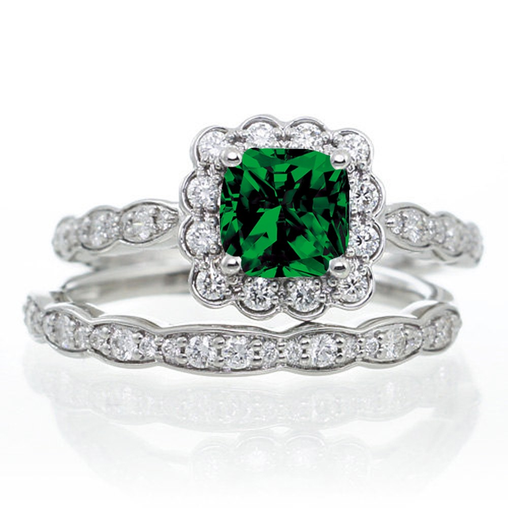 2 Carat Princess Cut Emerald And Diamond Wedding Ring Set