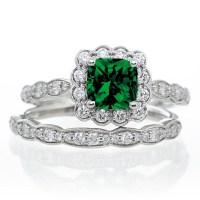 2 Carat Princess Cut Emerald and Diamond Wedding Ring set ...