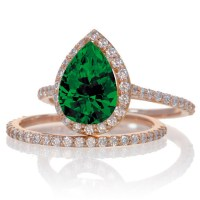 2 Carat Emerald and Diamond Halo Bridal Ring Set on 10k