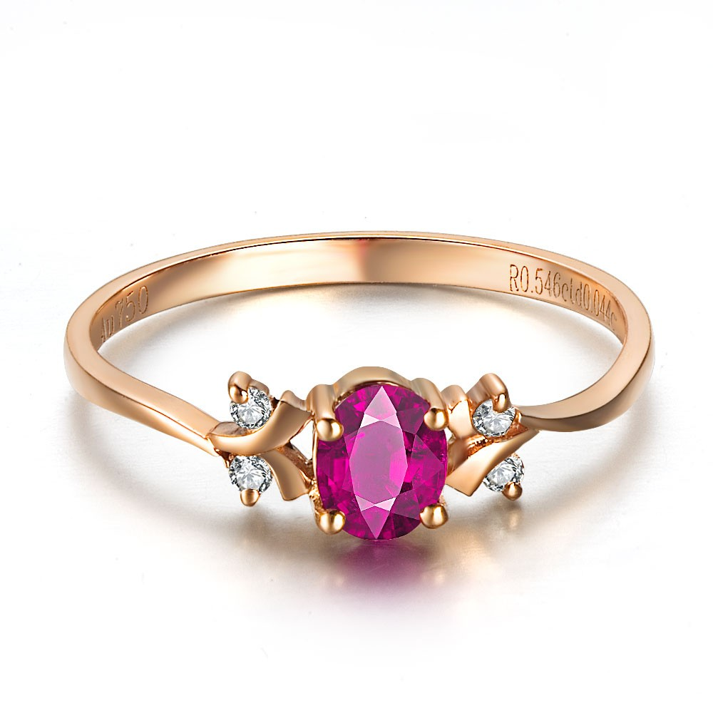 Ruby and Diamond Engagement Ring on 10k Rose Gold