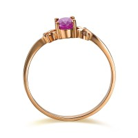 Ruby and Diamond Engagement Ring on 10k Rose Gold - JeenJewels