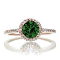 1.5 Carat Round Classic Emerald and Diamond Vintage ...