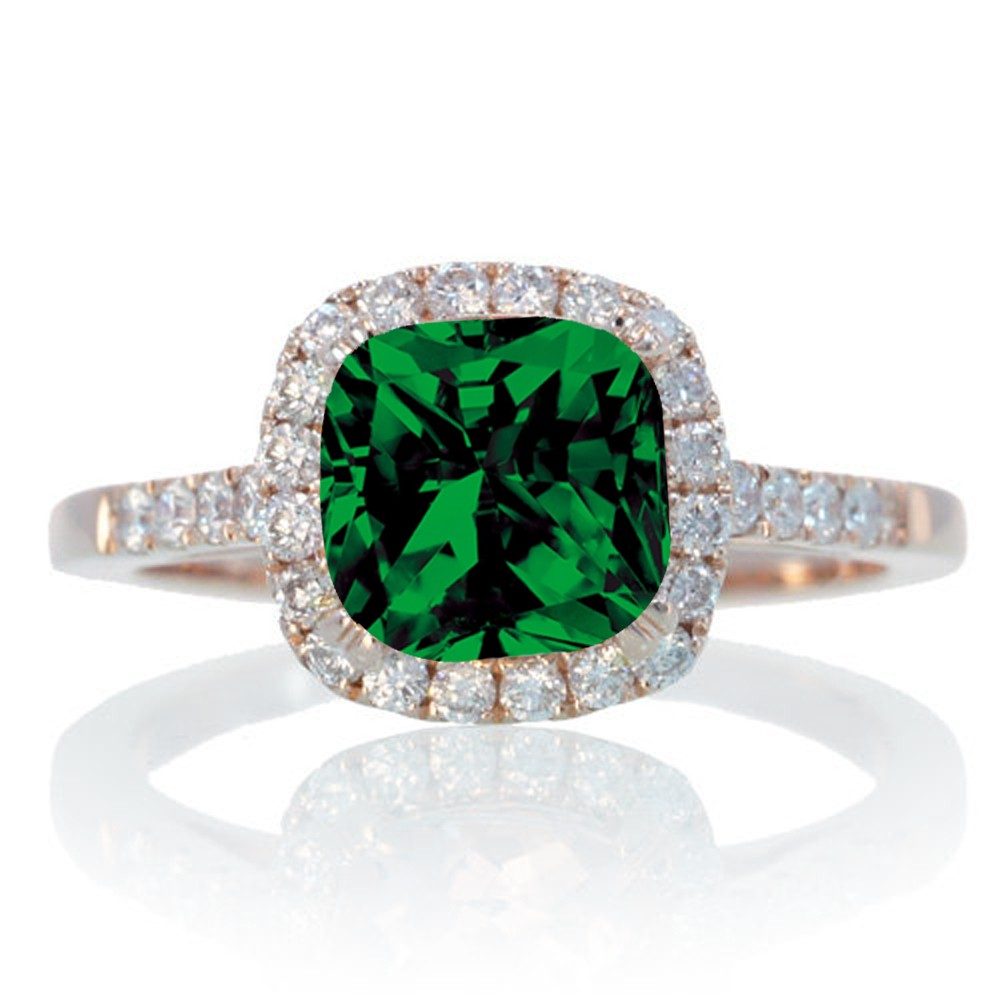 15 Carat Perfect Cushion Emerald and Diamond Engagement Ring on 10k Rose Gold  JeenJewels