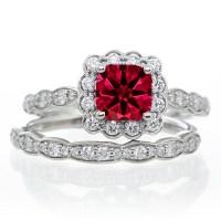 2 Carat Ruby and Diamond Halo Bridal Ring Set on 10k Rose