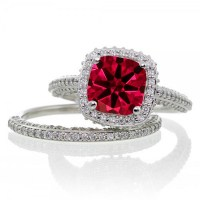 2.5 Carat Cushion Cut Designer Ruby and Diamond Halo