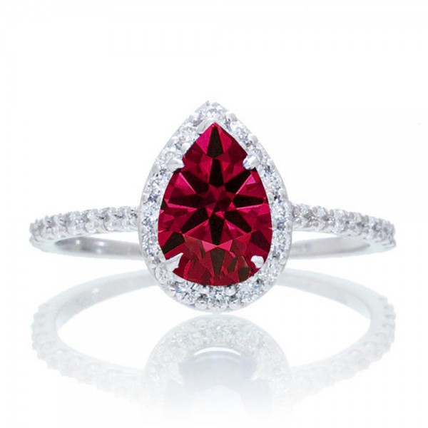1 5 Carat Classic Pear Cut Ruby With Diamond Celebrity Engagement Ring On 10k White Gold
