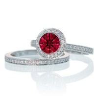 2 Carat Unique Classic Halo Round Ruby and Diamond Bridal ...