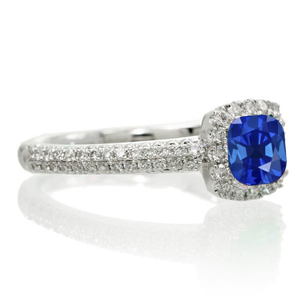 2 Carat Vintage Halo Sapphire and Diamond Engagement Ring