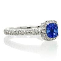 2 Carat Vintage Halo Sapphire and Diamond Engagement Ring
