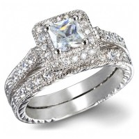GIA Certified 1 Carat Princess cut Diamond Vintage Wedding ...