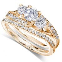 GIA Certified 1 Carat Trilogy Round Diamond Wedding Ring ...