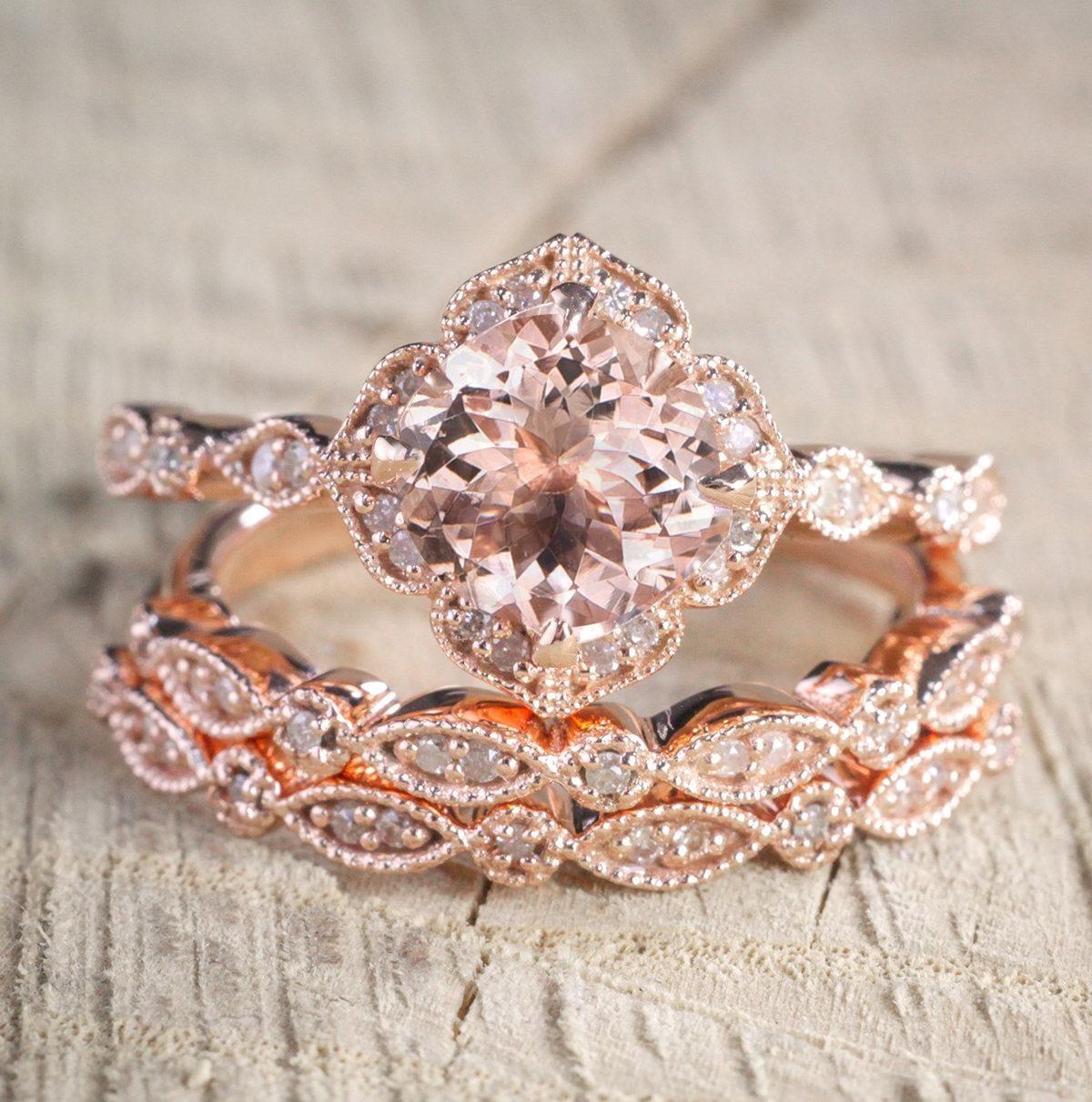 2.25 carat Morganite Diamond Trio Wedding Bridal Ring Set