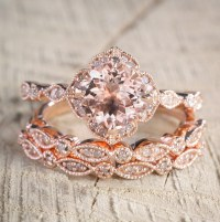 2.25 carat Morganite Diamond Trio Wedding Bridal Ring Set