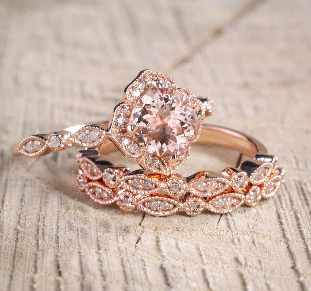 225 Carat Morganite Diamond Trio Wedding Bridal Ring Set