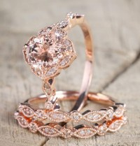 2 carat Morganite and Diamond Trio Wedding Bridal Ring Set ...