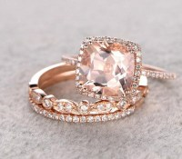 Sale 2 carat Morganite and Diamond Trio Wedding Bridal ...