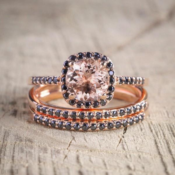 Sale 250 carat Morganite and Black Diamond Trio Wedding