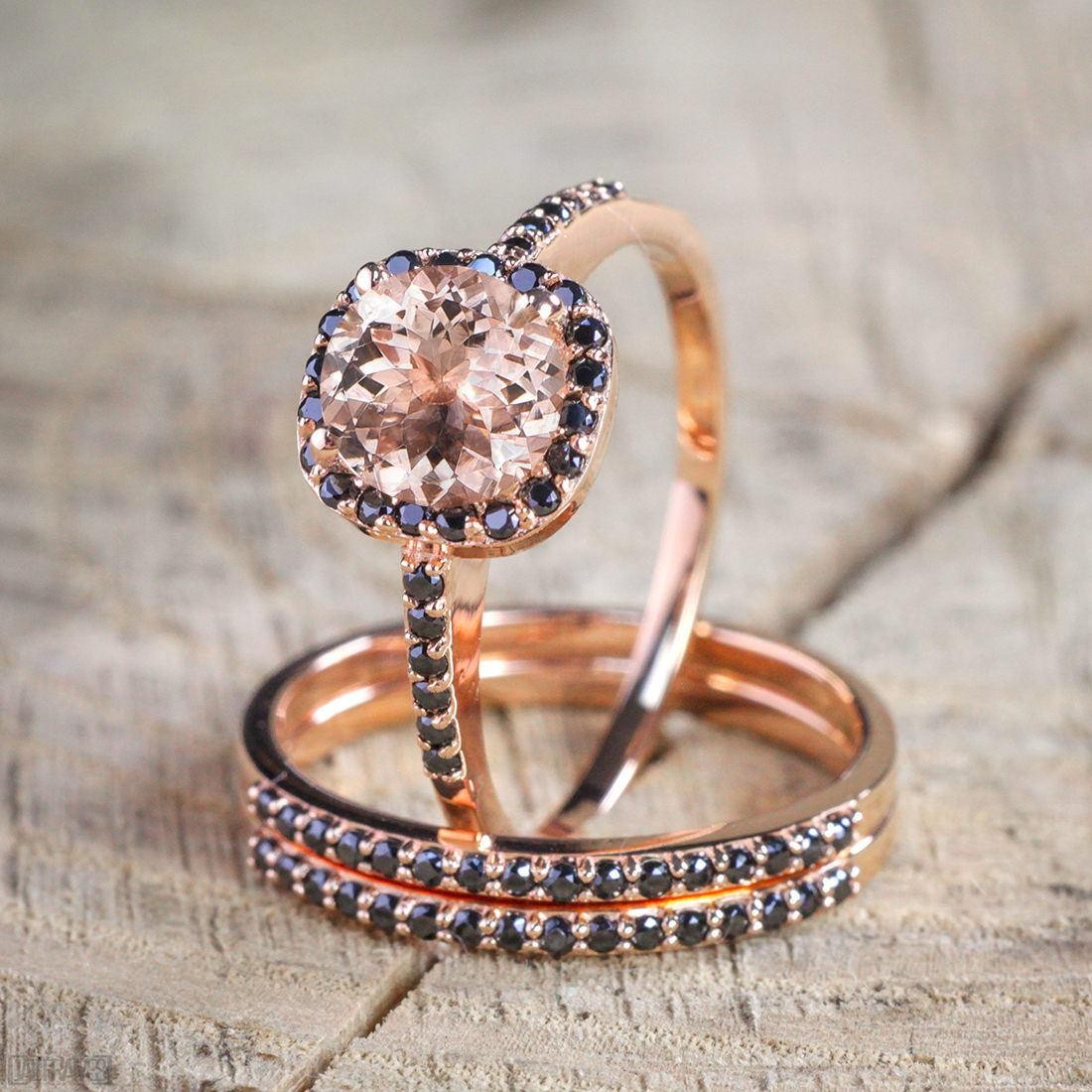 Rose Gold And Black Diamond Wedding Band KT63
