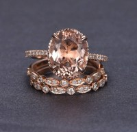 Limited Time Sale 2 carat Morganite and Diamond Trio Ring ...