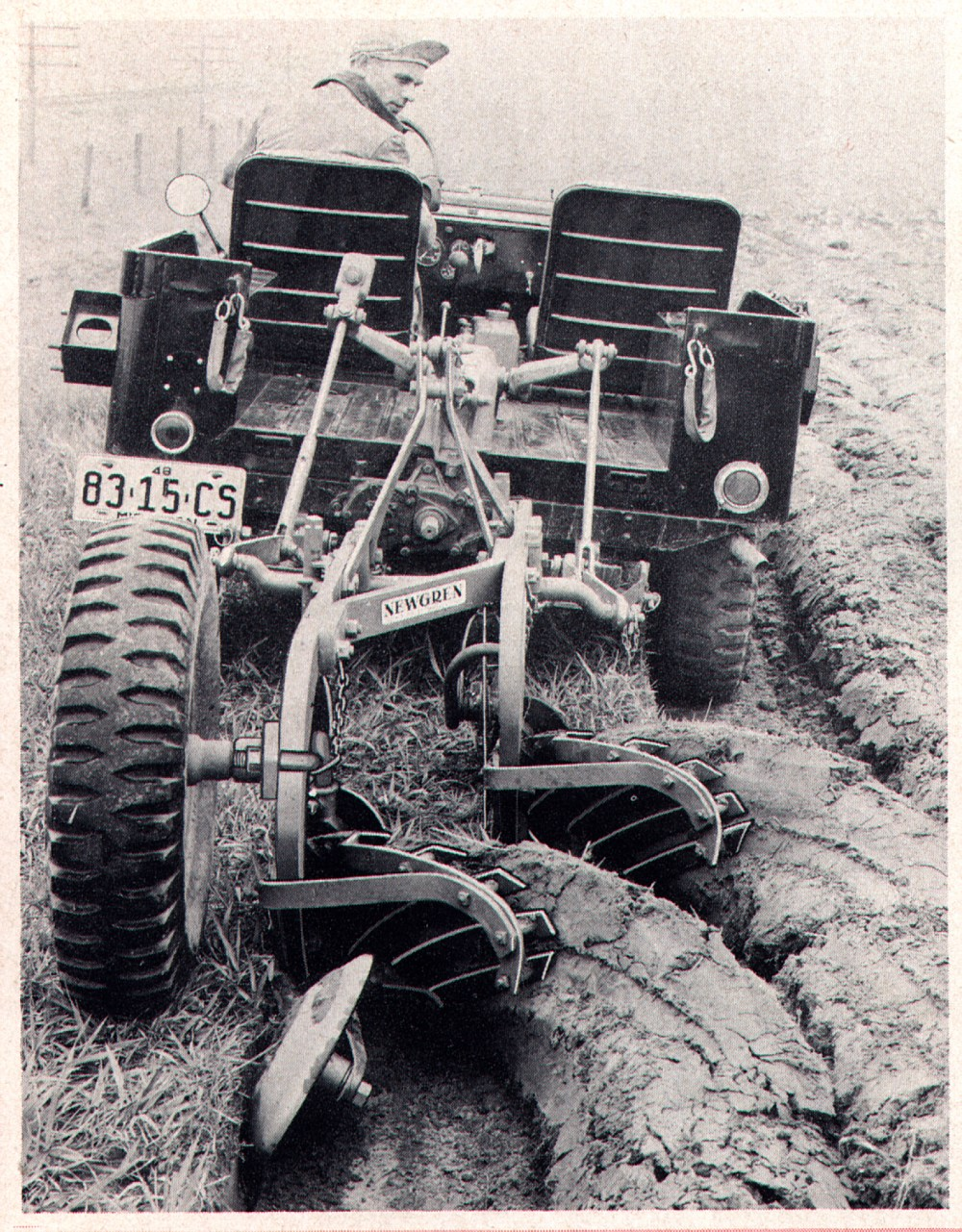 medium resolution of jeep at work a late 40s cj mounting a newgren two bottom plow interestingly it s being used on a monroe hydraulic lift which mounted in the bed of the