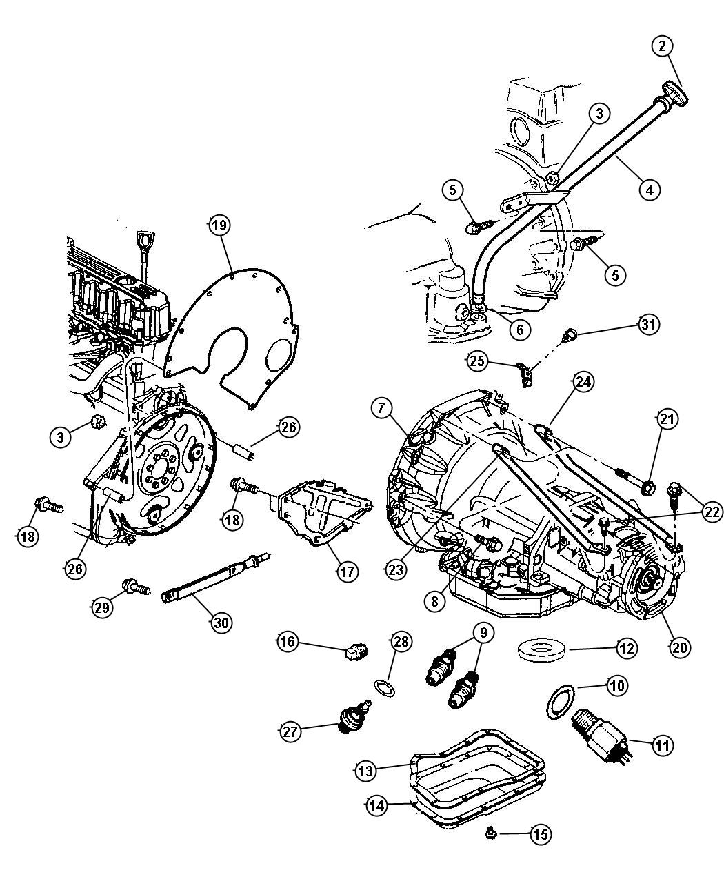 1999 Jeep Grand Cherokee Seal. Oil filler tube. Case
