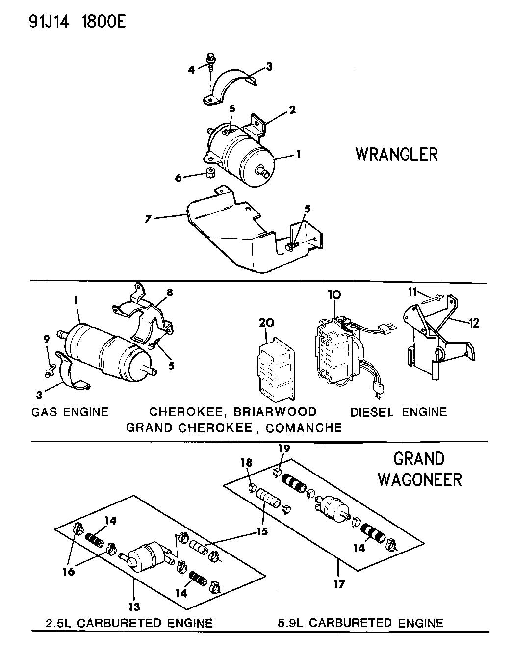 Jeep Yj Fuel Filter Auto Electrical Wiring Diagram 93 Wrangler Parts