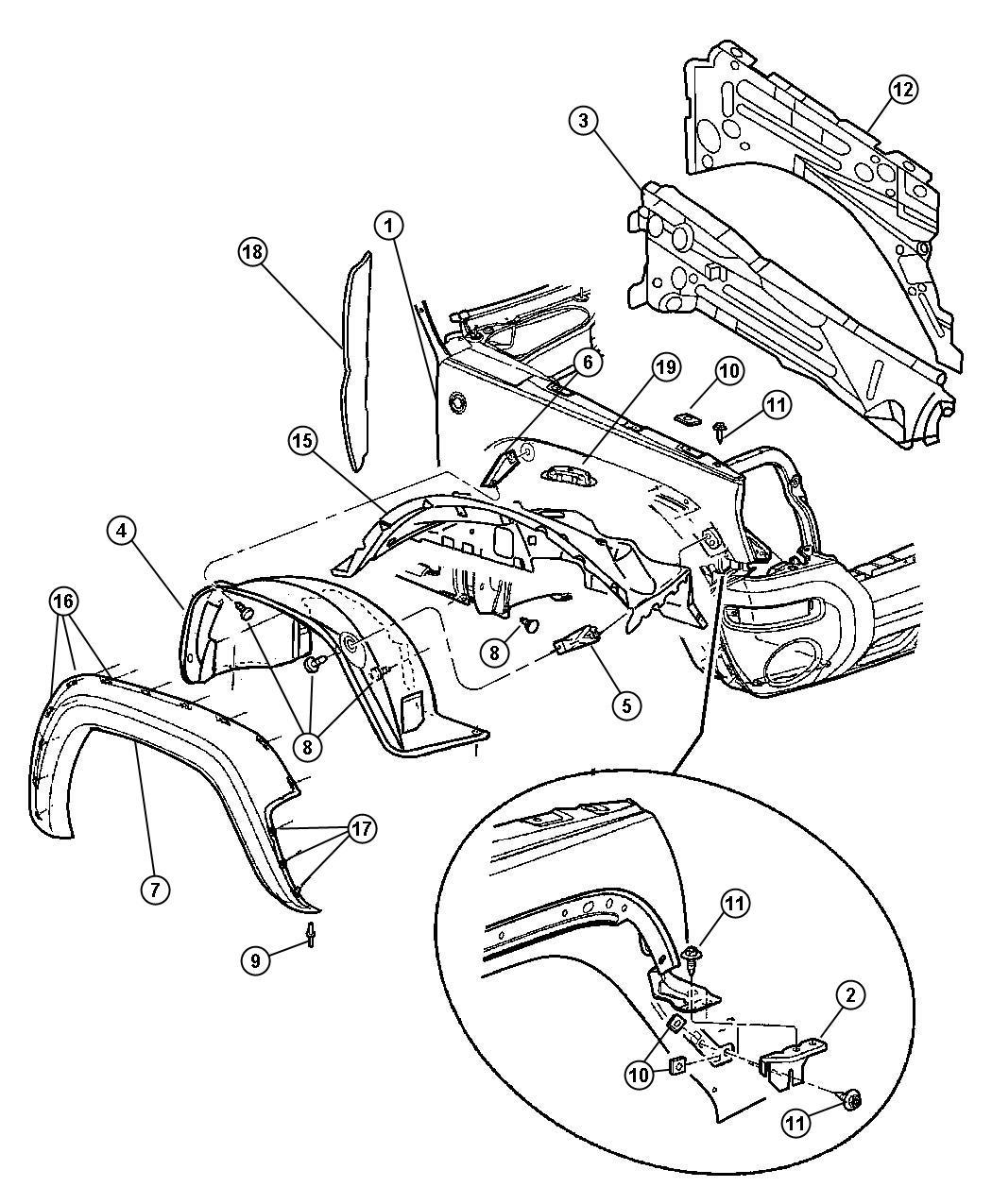 Jeep Liberty Bracket. Fender. Left. Front, mopar, fenders