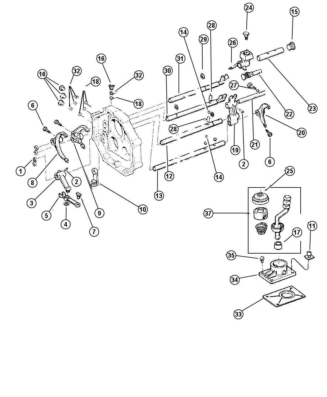 Jeep Wrangler Housing Shift Lever Transmission