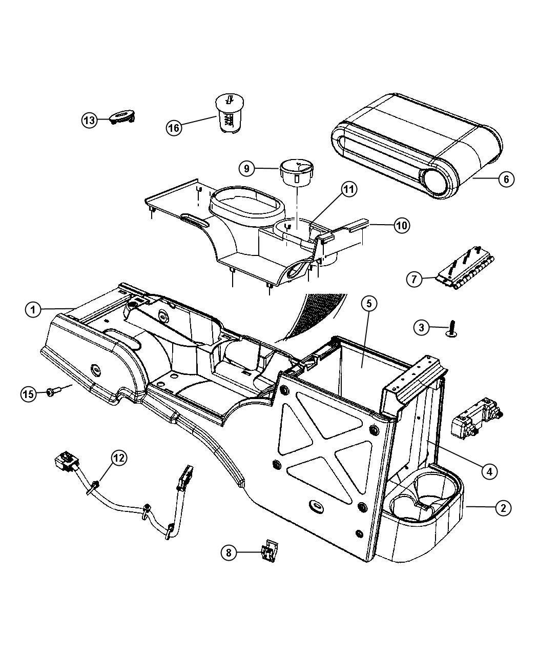 2008 Jeep Wrangler Bezel, panel. Console, floor console