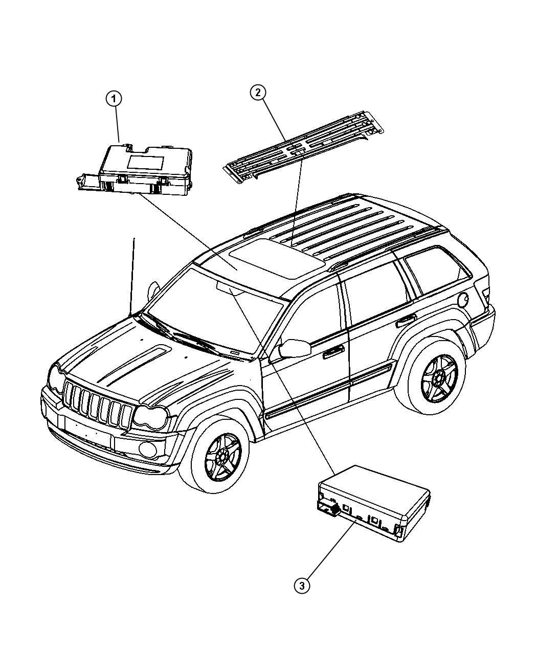 2008 Jeep Commander Motor/module. Sunroof. Trim: [all trim