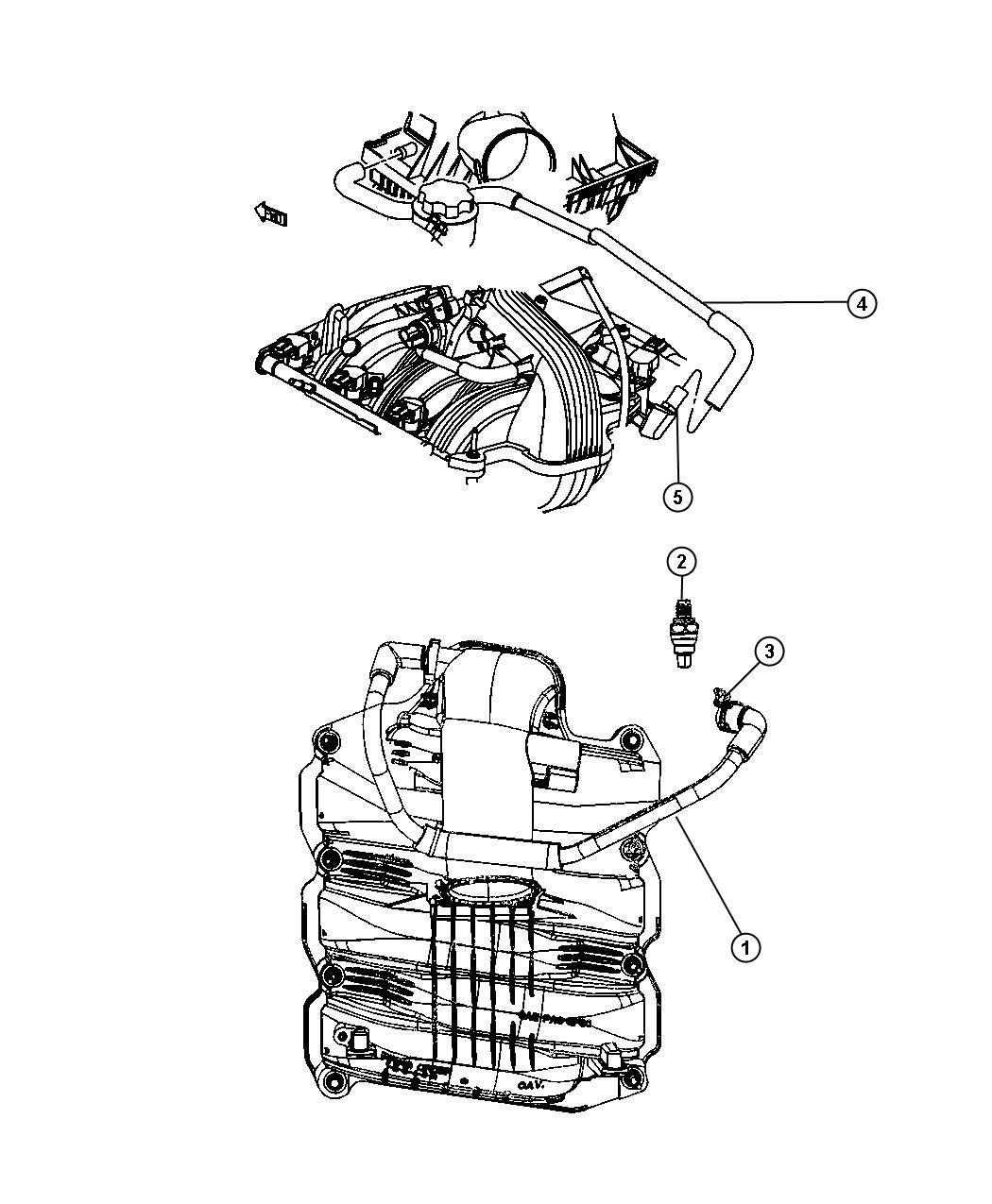 2007 Jeep Liberty Hose. Pcv valve to intake manifold