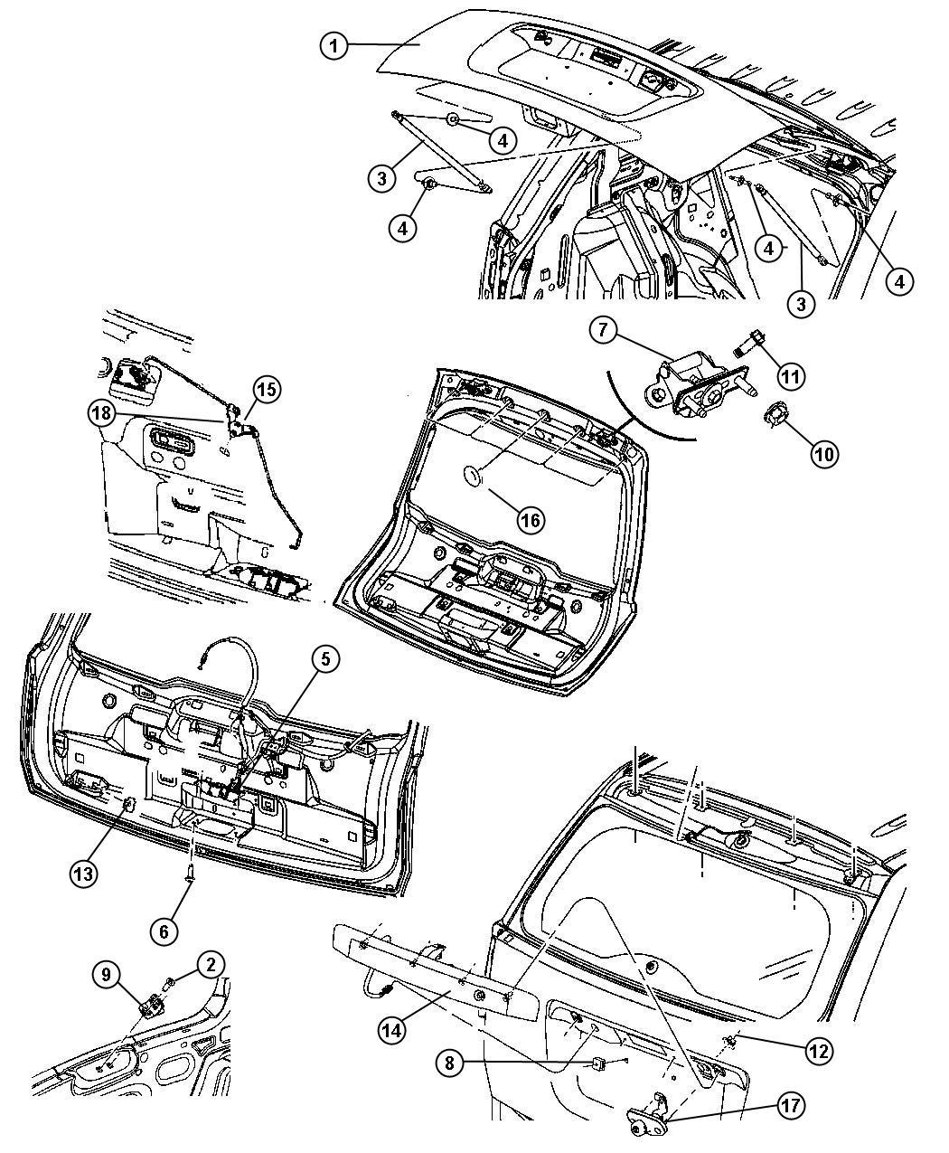 2009 Jeep Compass Latch. Liftgate. Locks, manual, door