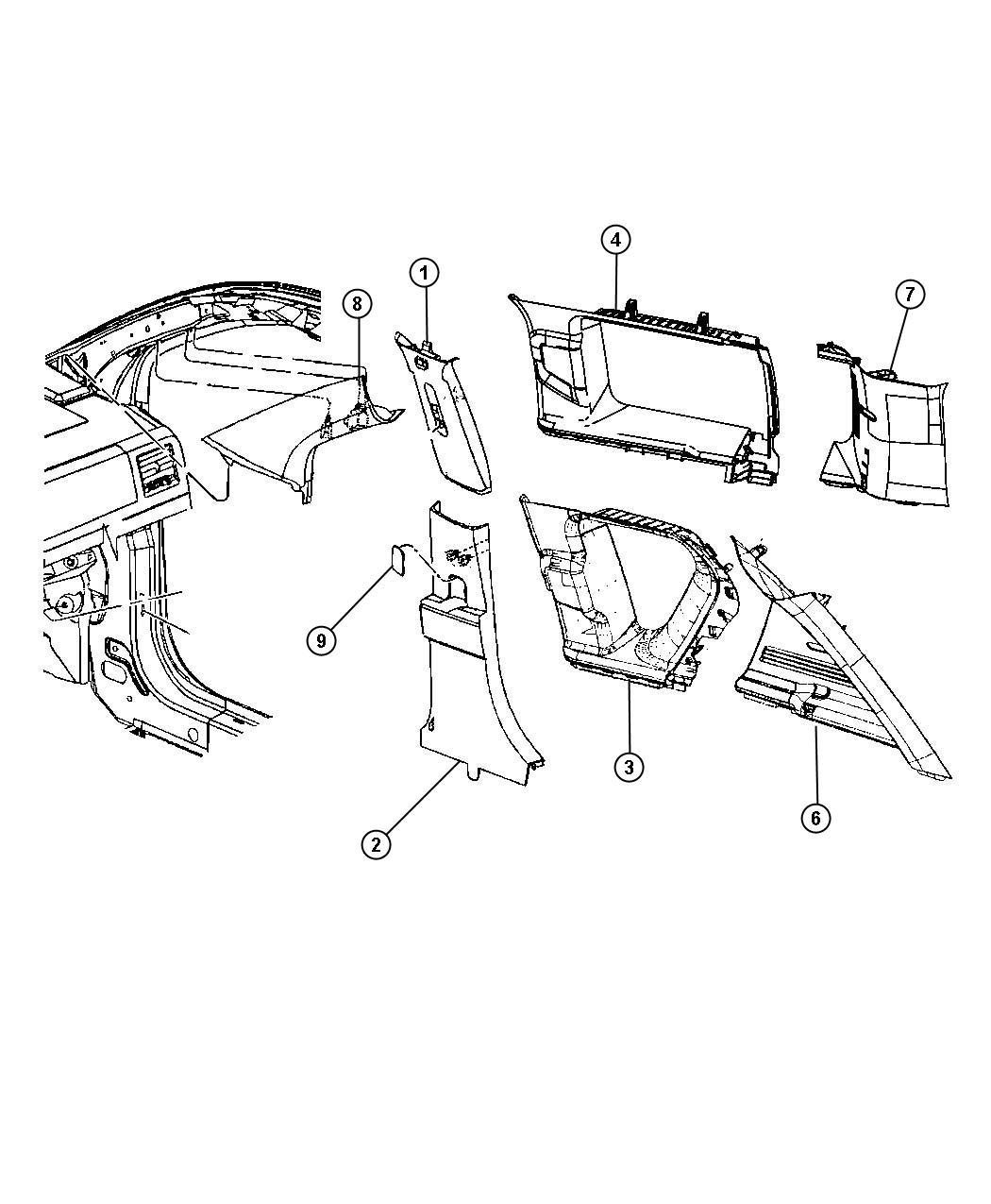 Jeep Compass Molding. D pillar. Right. [da], [dv], [ka