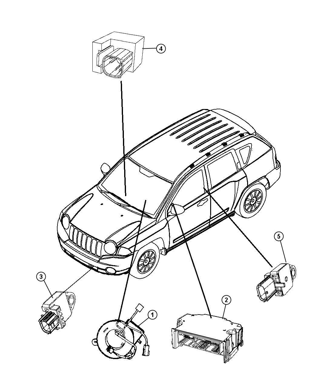 2009 Jeep Compass Clockspring. Steering column control