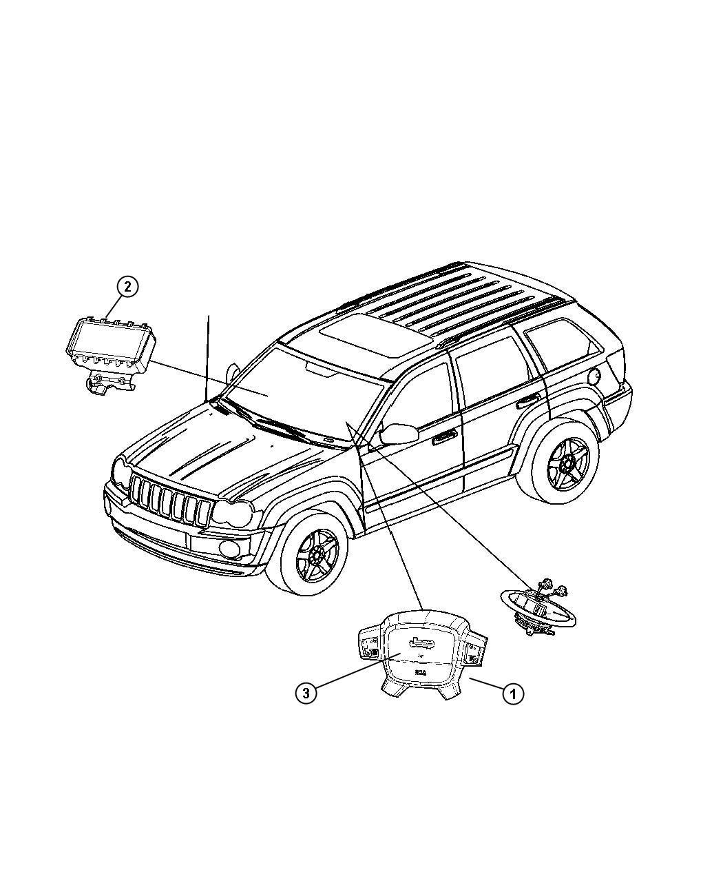 2010 Jeep Commander Air bag. Driver. [d1], [j1]. Trim