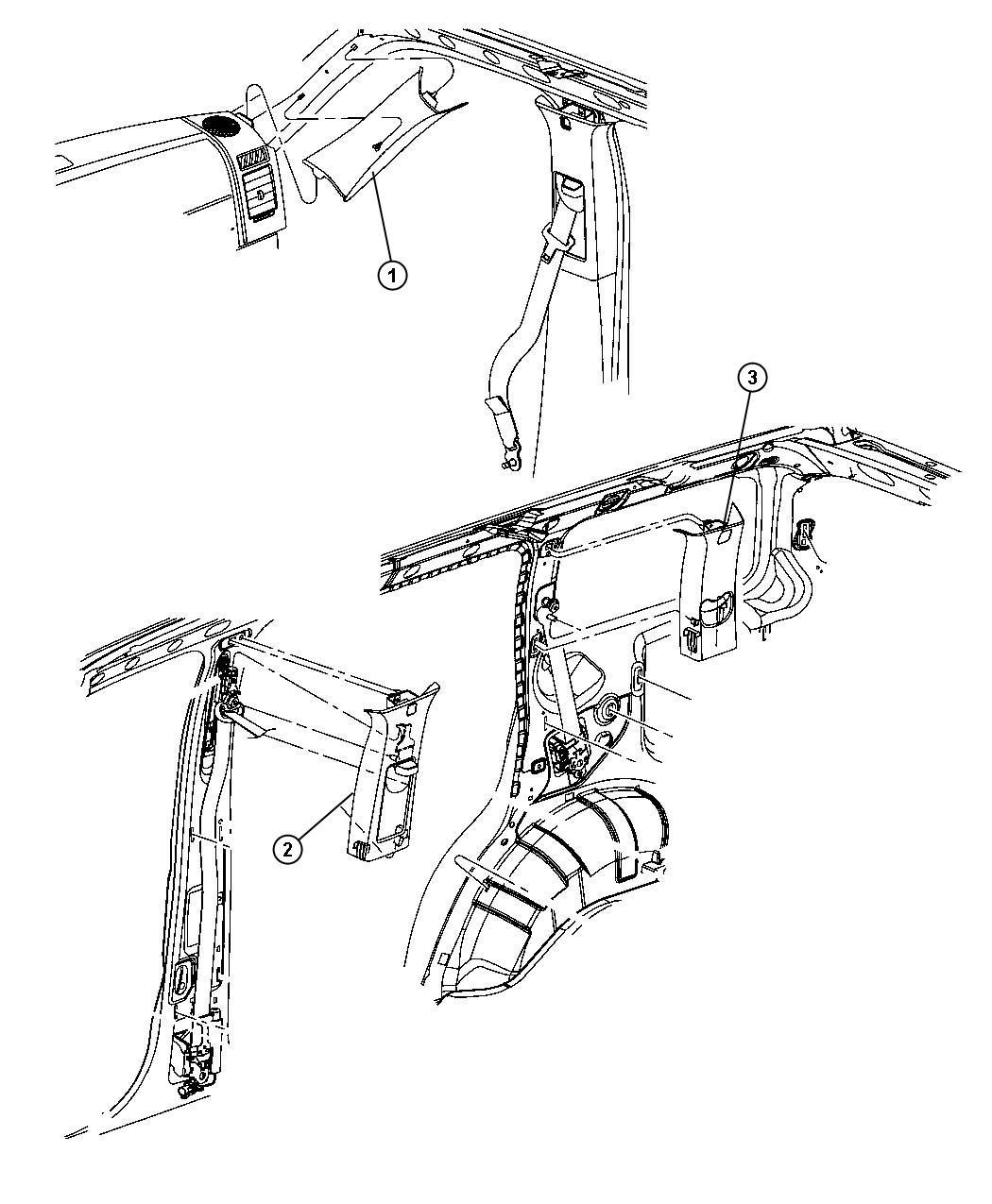 Jeep Liberty Molding. B pillar. Left. [df], [dk], [dt