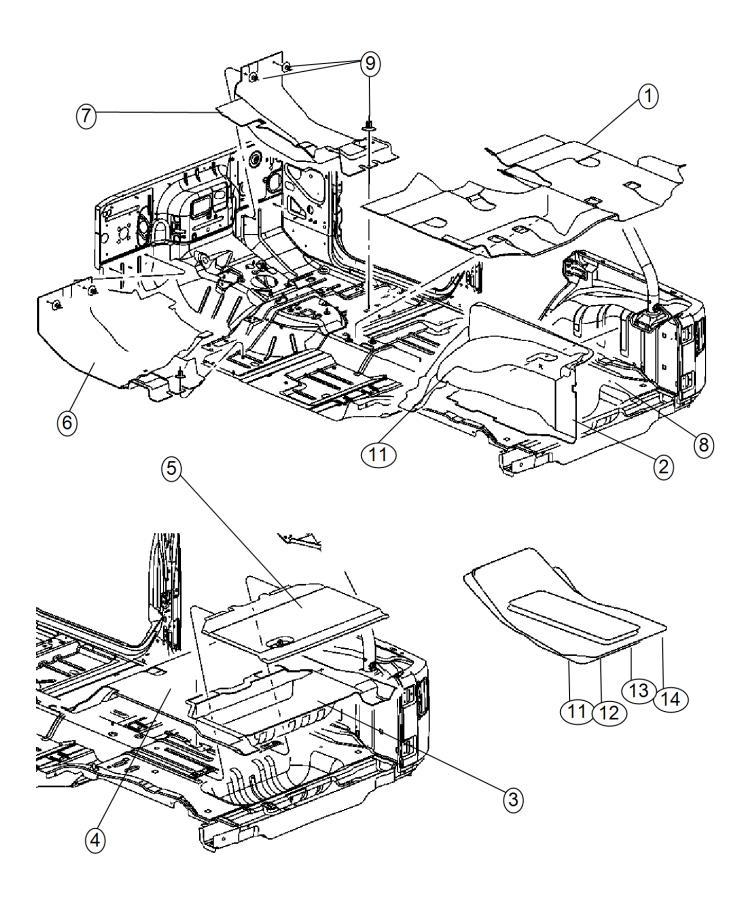 Jeep Wrangler Carpet. Front floor. Left. Trim: [no