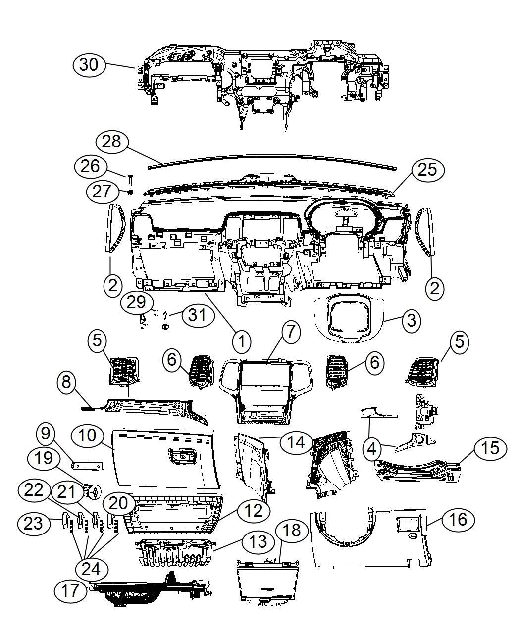 Jeep Grand Cherokee Applique. Instrument panel. Export