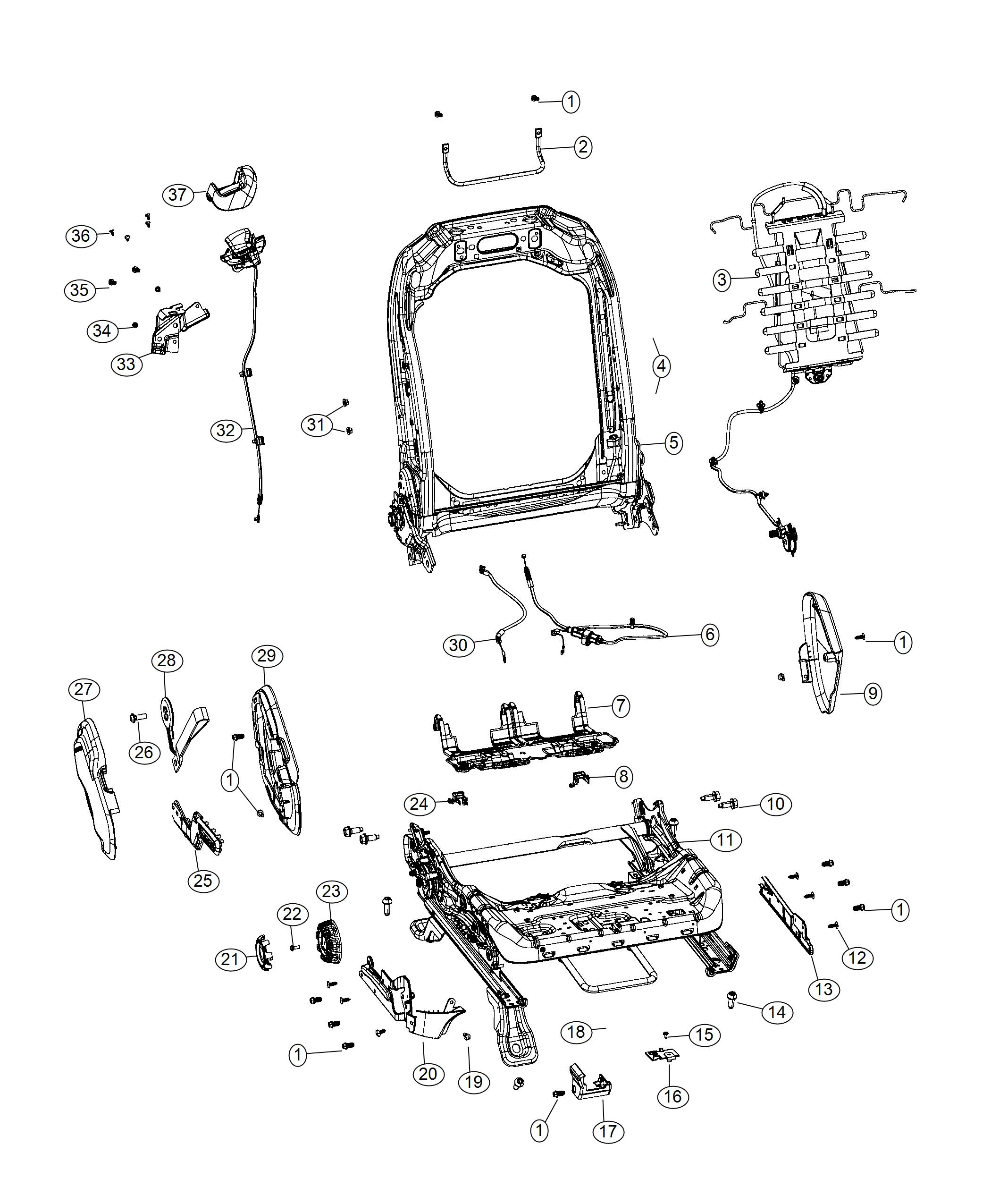 Jeep Wrangler Cable. Front seat. [seat parts module