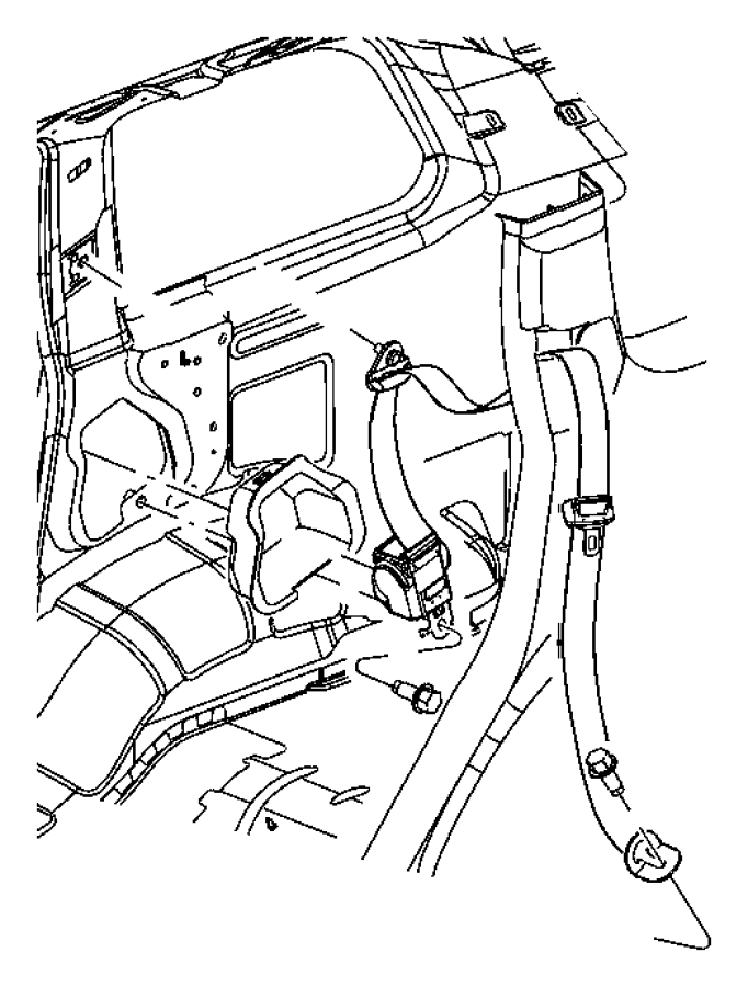 2007 Jeep Commander Seat belt. Rear outer. Left. Trim
