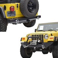 "E-Autogrilles 97-06 Jeep Wrangler TJ Black Textured Off Road Front Bumper with Winch Plate and Rear Bumper with 2"" Hitch Receiver Combo (51-0051+51-0008)"