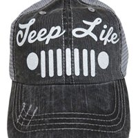 White Glitter Jeep Life Distressed Look Grey Trucker Cap Hat